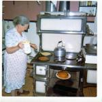 My maternal grandmother making pancakes