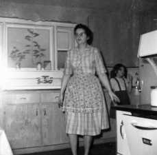 Mom and me in our farmhouse kitchen.