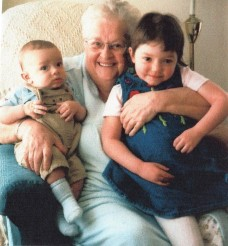 Mom with two of her great grandchildren.