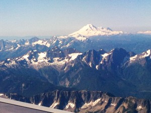 Snow capped mountains in July.